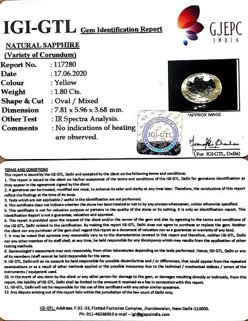 2.00 Ratti Natural Ceylonese Pukhraj Stone with Govt Lab Certificate-(8991)