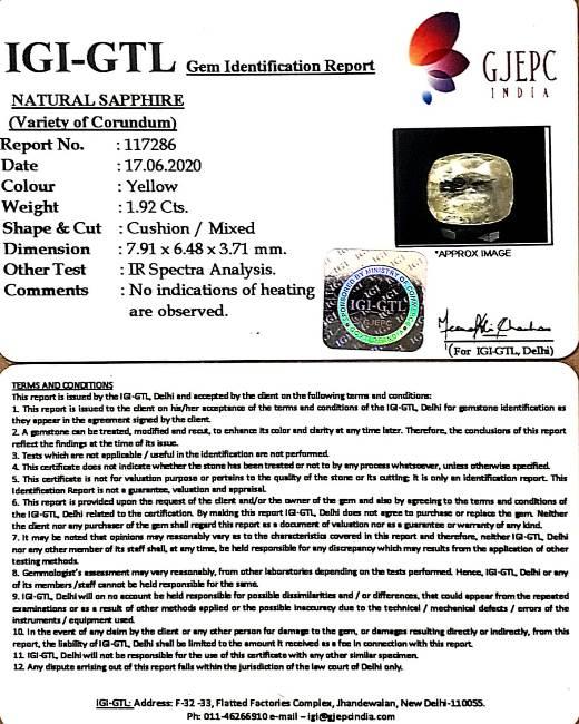 2.13 Ratti Natural Ceylonese Pukhraj Stone with Govt Lab Certificate-(8991)