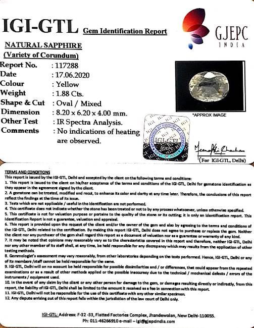 2.09 Ratti Natural Ceylonese Pukhraj Stone with Govt Lab Certificate-(12210)