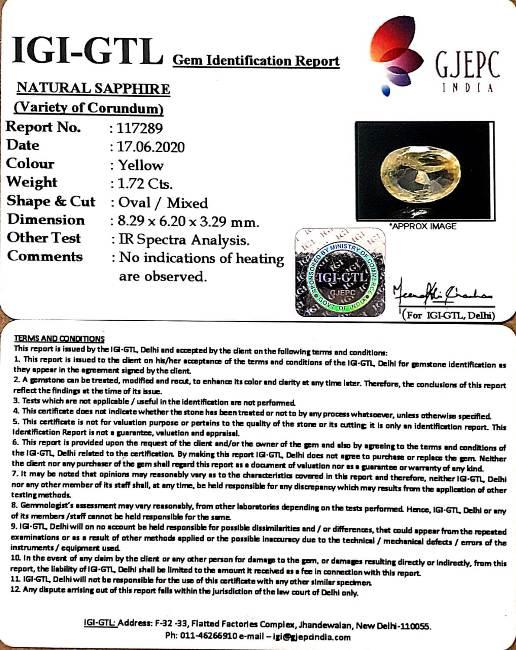 1.91 Ratti Natural Ceylonese Pukhraj Stone with Govt Lab Certificate-(16650)