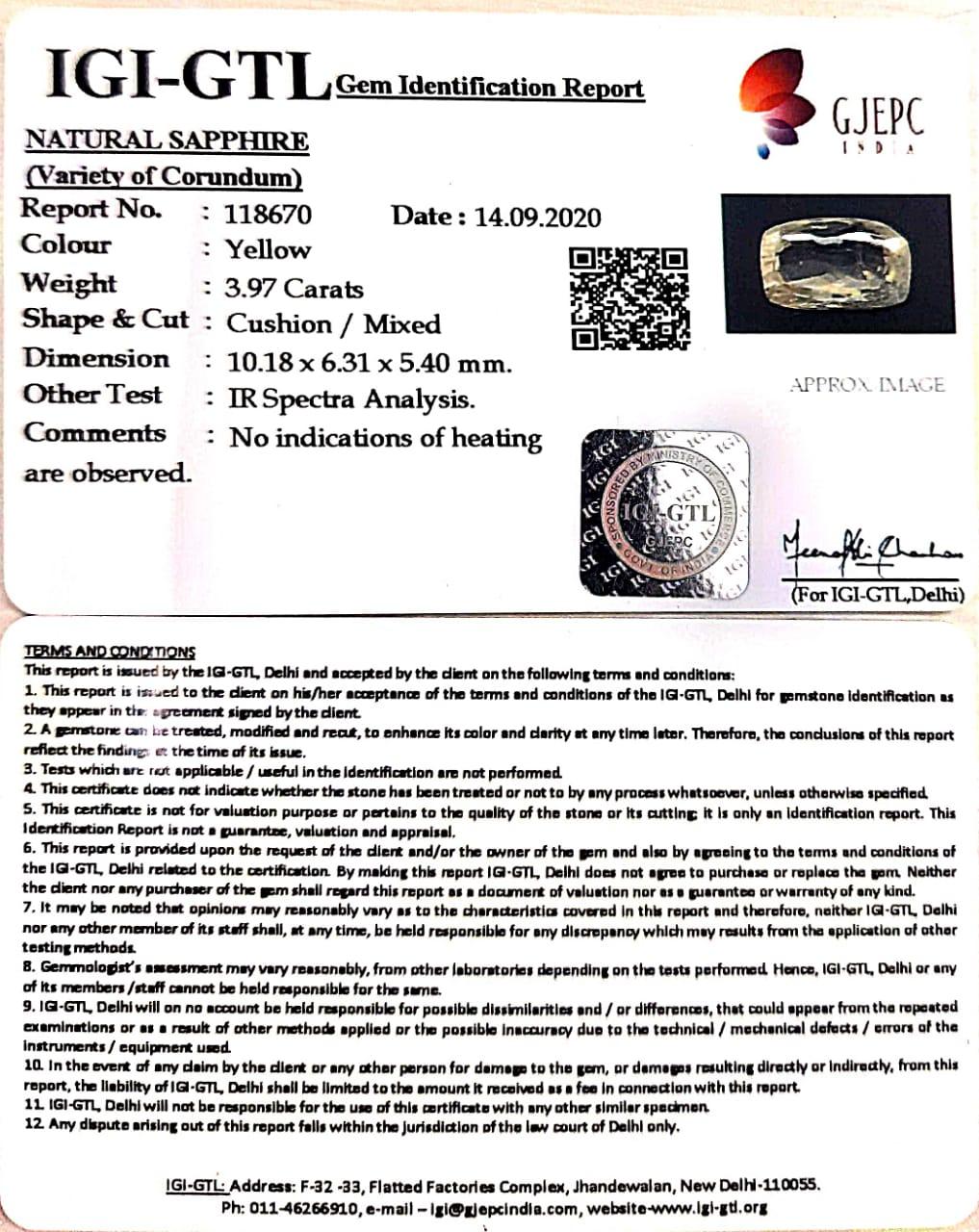 4.40 Ratti Natural Ceylonese Pukhraj Stone with Govt Lab Certificate-(23310)