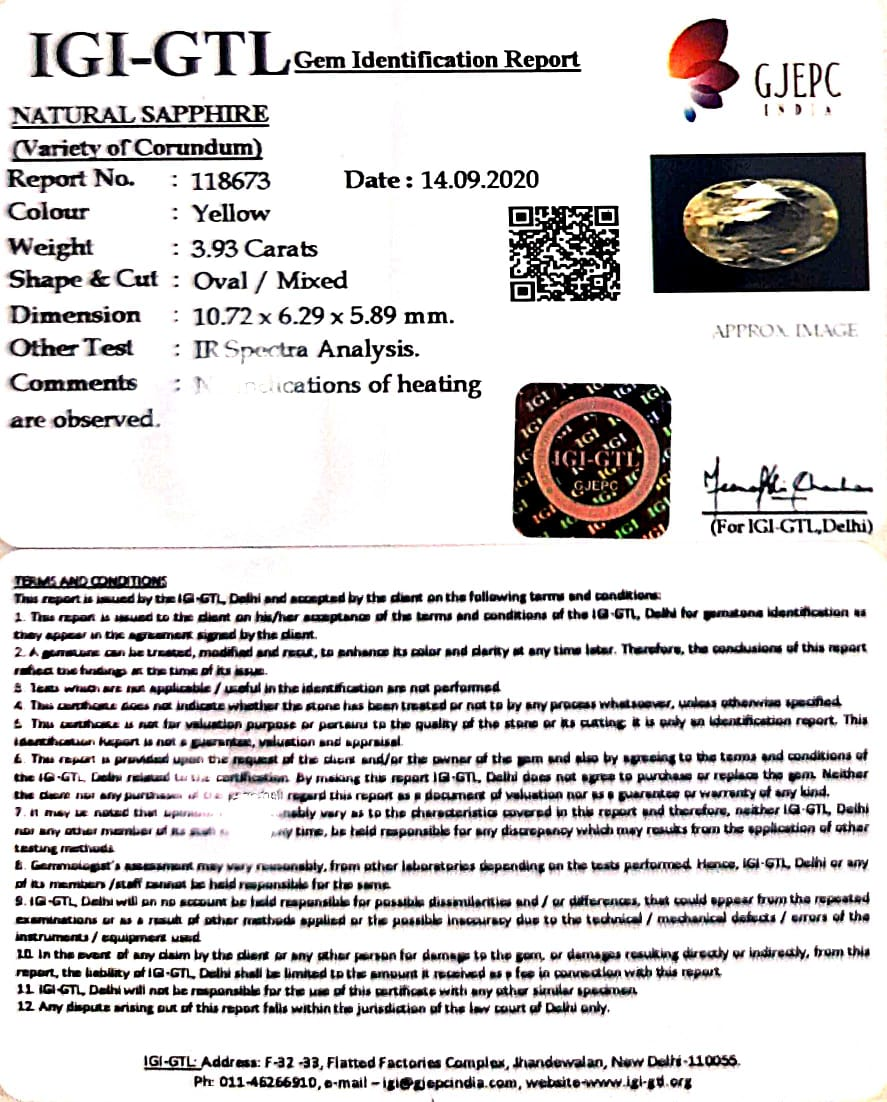 4.36 Ratti Natural Ceylonese Pukhraj Stone with Govt Lab Certificate-(16650)
