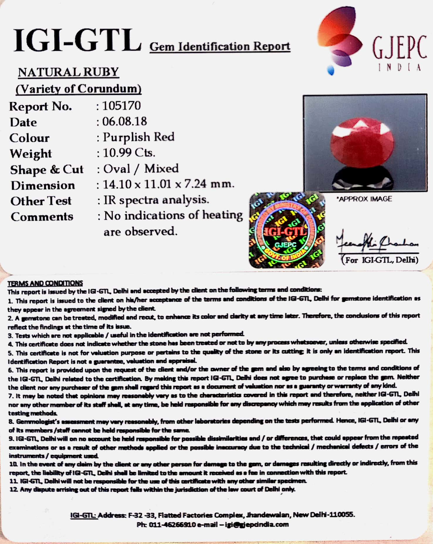 12.19 Ratti Natural Neo Burma Ruby with Govt. Lab Certificate-(2331)