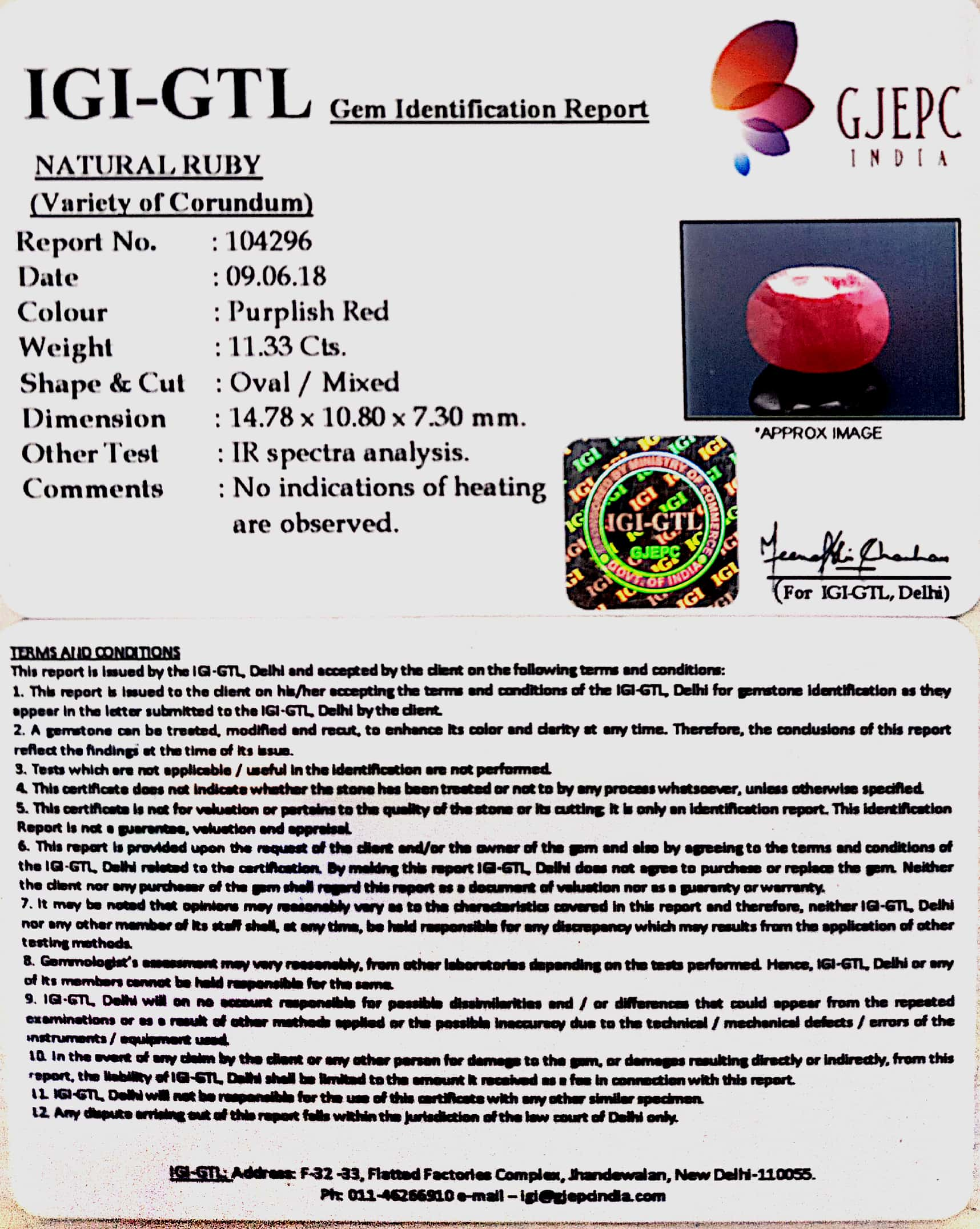 11.33 Carat Natural New Burma Ruby with Govt. Lab Certificate