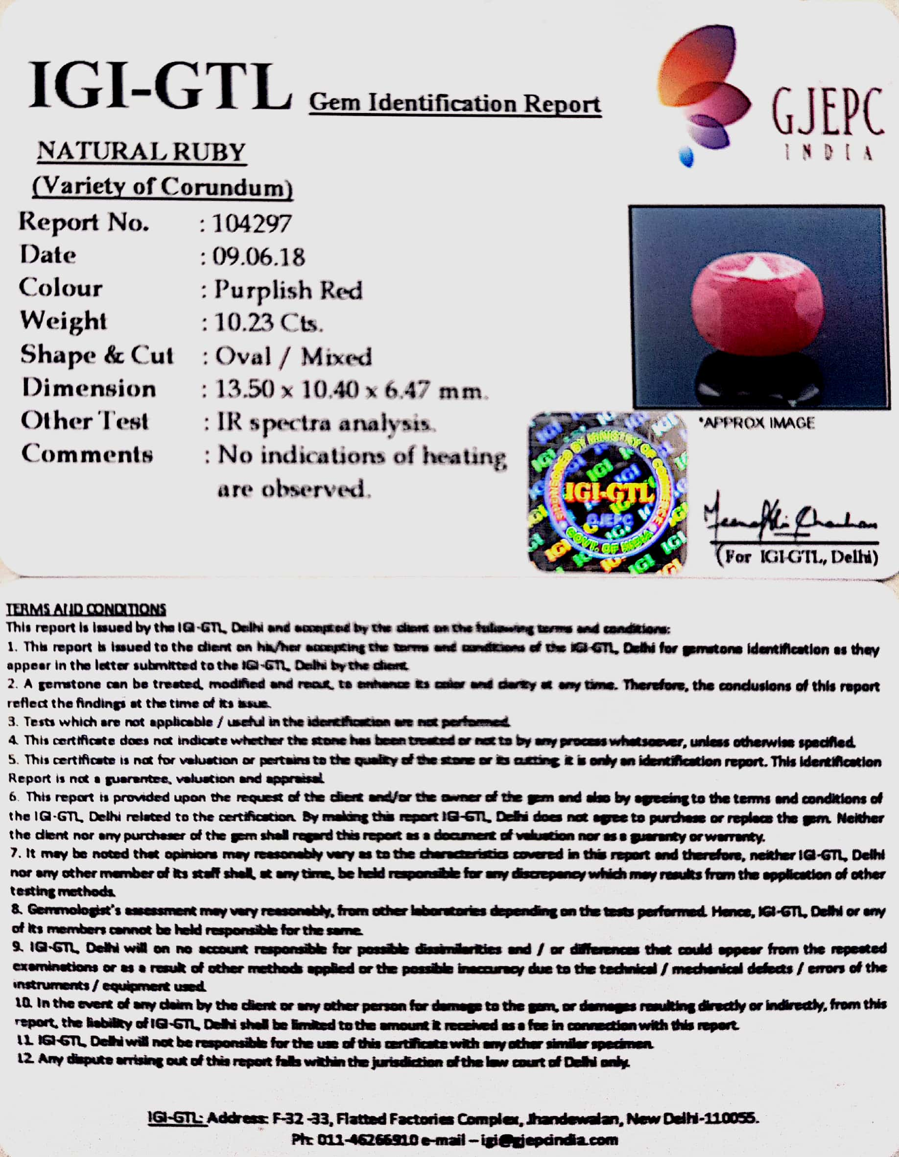 10.23 Carat Natural New Burma Ruby with Govt. Lab Certificate