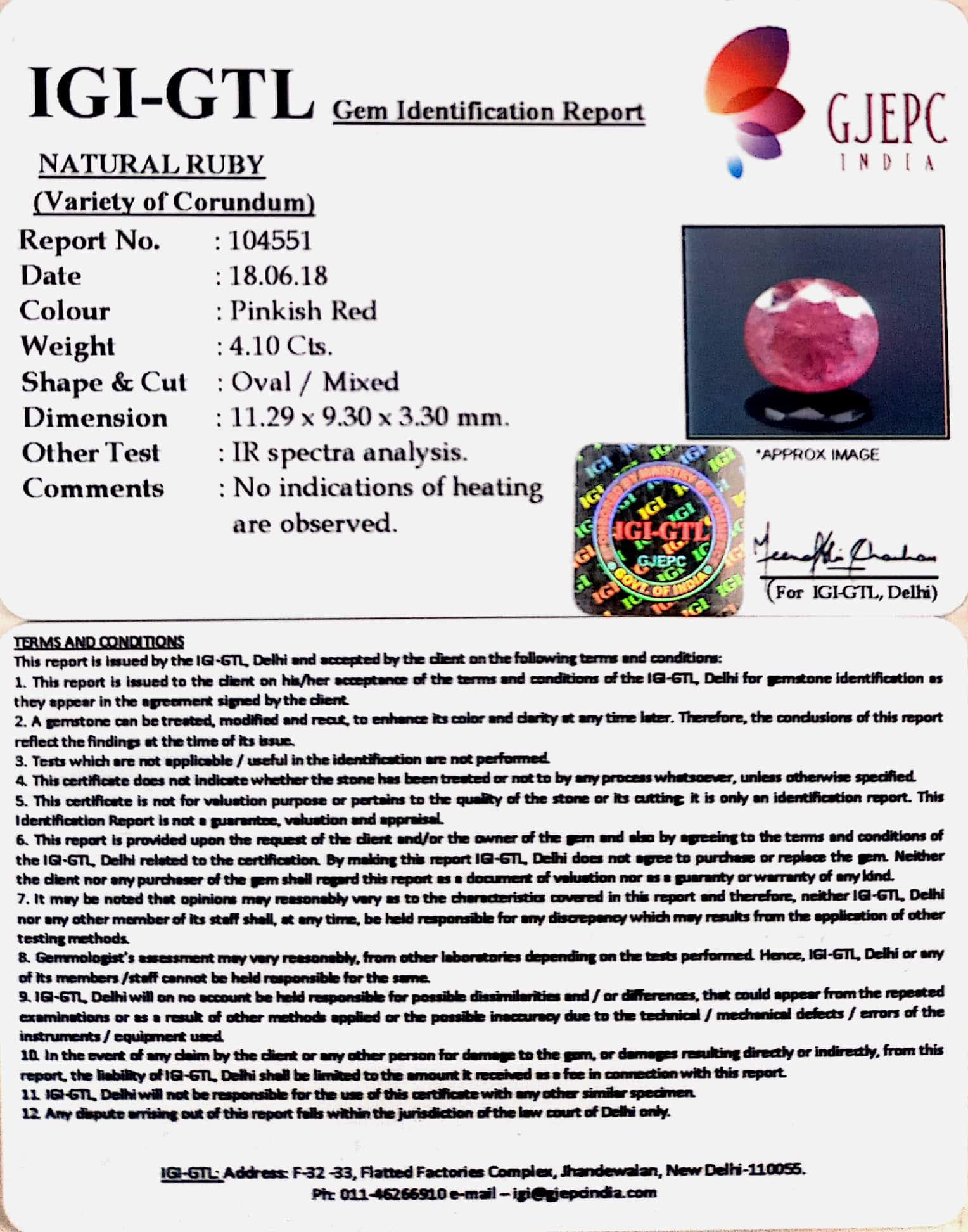 4.56 Ratti Natural Mozambique Ruby with Govt. Lab Certificate