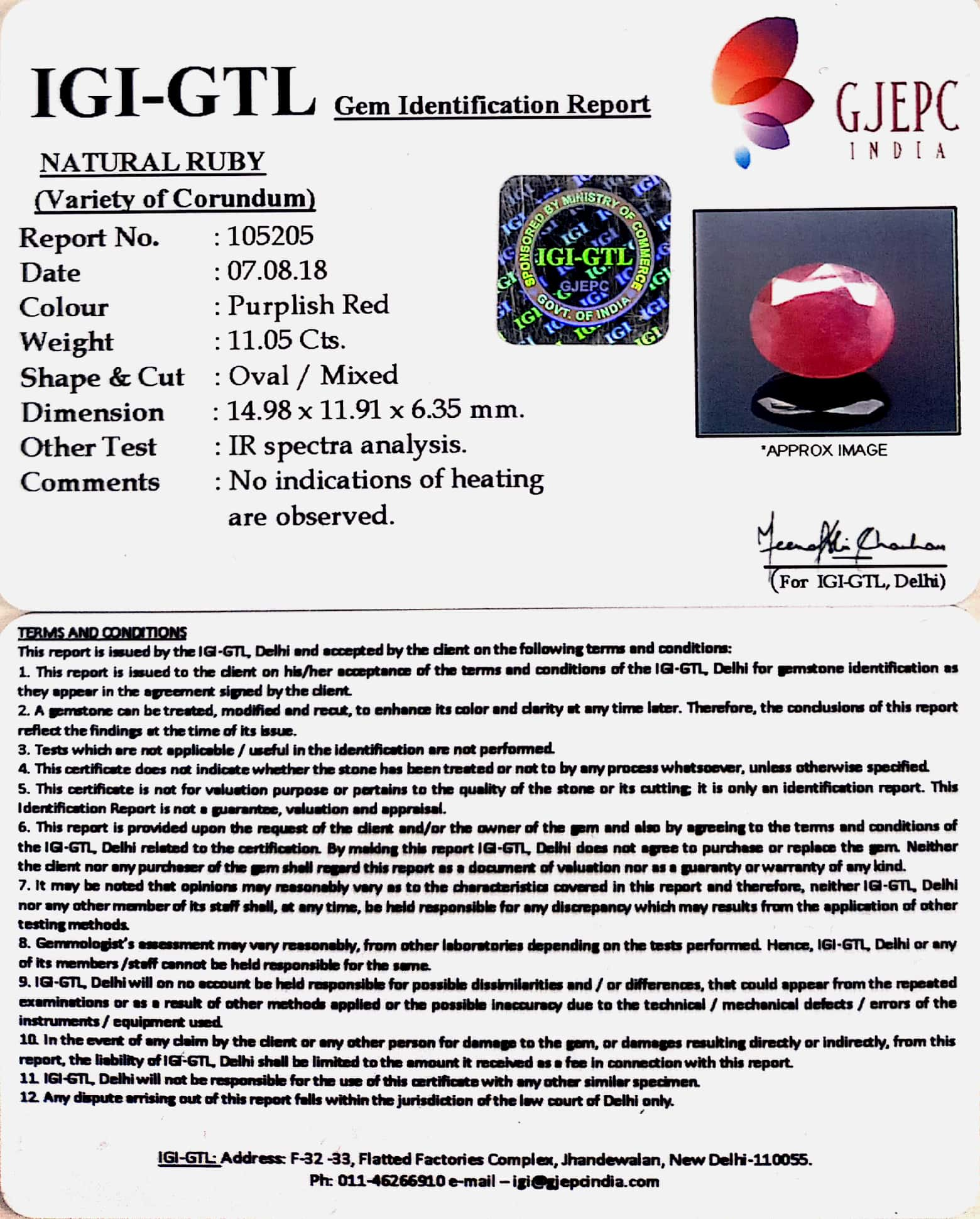 12.28 Ratti Natural Neo Burma Ruby with Govt Lab Certificate-(3441)