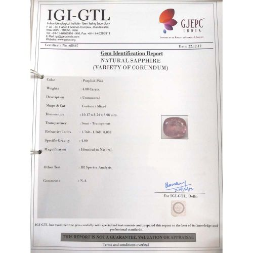 5.42 Ratti Natural Purple Sapphire with Govt. Lab Certified