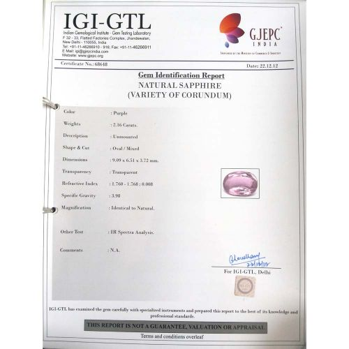 2.40 Ratti Natural Purple Sapphire with Govt. Lab Certified