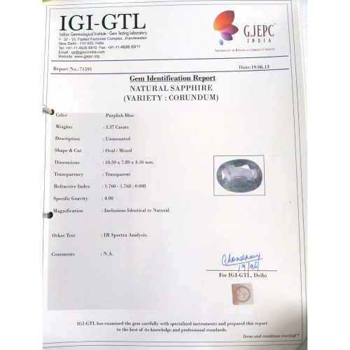 3.74 Ratti Natural Purple Sapphire with Govt. Lab Certified