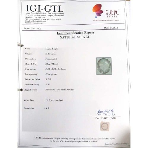 3.14 Ratti Natural Purple Sapphire with Govt. Lab Certified