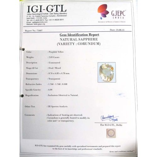 3.14 Ratti Natural Purple Sapphire with Govt. Lab Certified-12210