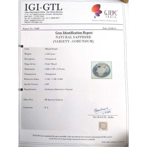 3.71 Ratti Natural Purple Sapphire with Govt. Lab Certified