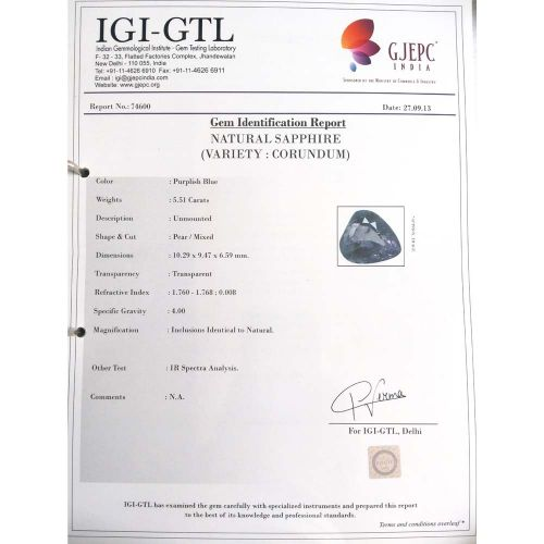 6.12 Ratti Natural Purple Sapphire with Govt. Lab Certified-(15000)