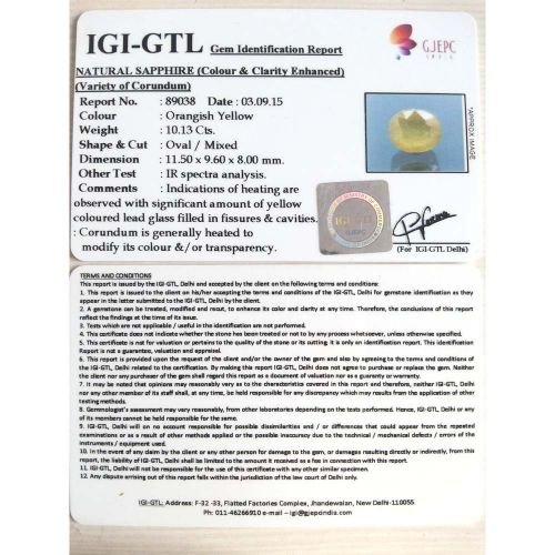 11.26 Ratti  Natural yellow sapphire with Govt Lab Certificate-(2100)