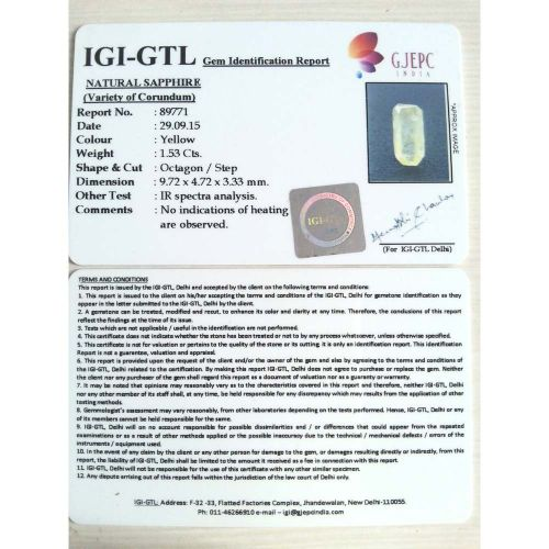 1.70 Ratti  Natural yellow sapphire with Govt Lab Certificate-(6100)