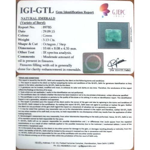3.48 Ratti Natural Panna Stone with Govt. Lab Certified-(8991)