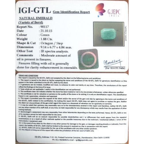 2.09 Ratti Natural Panna Stone with Govt. Lab Certified-(2100)