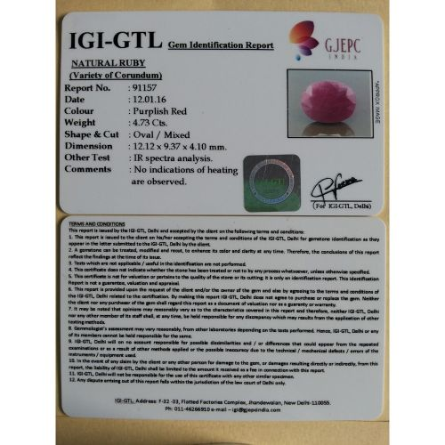 5.23 Ratti Natural Indian ruby with Govt. Lab Certificate-(1100)