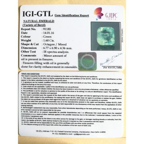 1.78 Ratti Natural emerald with Govt Lab Certificate-(23310)