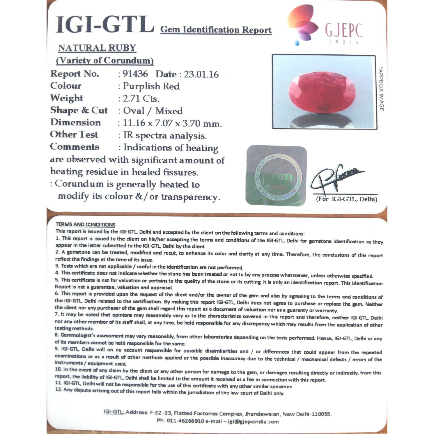 3.01 Ratti natural Indian ruby with Govt. Lab Certificate-(1100)