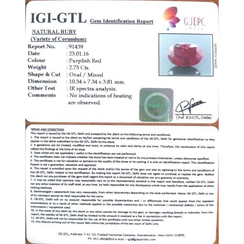 3.03 Ratti Natural Mozambique Ruby with Govt. Lab Certificate-(11000)