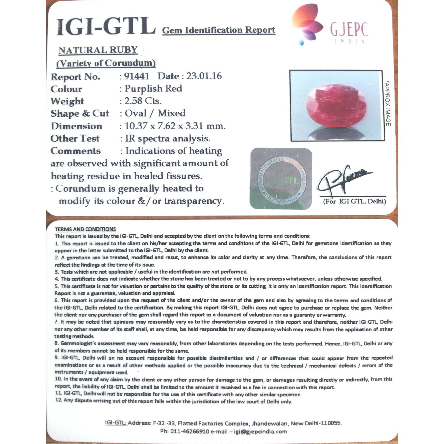 2.87 Ratti Natural Indian Ruby with Govt. Lab Certificate-(1100)