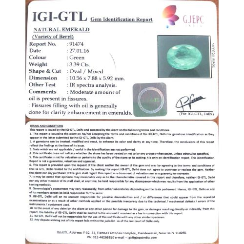 3.77 Ratti Natural Panna Stone with Govt. Lab Certified-(15000)