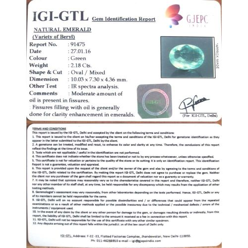 2.42 Ratti Natural Panna Stone with Govt. Lab Certified-(34410)