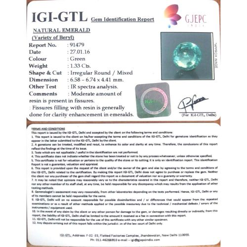 1.48 Ratti Natural Panna Stone with Govt. Lab Certified-(34410)