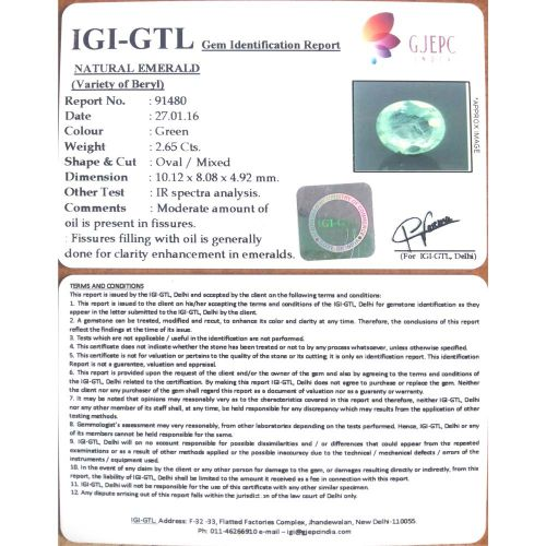 2.94 Ratti Natural Panna Stone with Govt. Lab Certified-(12210)