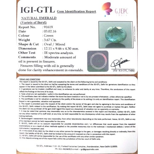 4.08 Ratti Natural Panna Stone with Govt. Lab Certified-(8991)