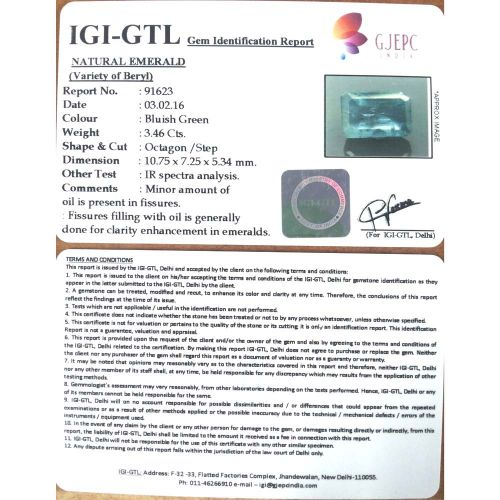 3.84 Ratti Natural Panna Stone with Govt. Lab Certified-(8991)