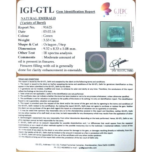 3.92 Ratti Natural Panna Stone with Govt. Lab Certified-(8991)