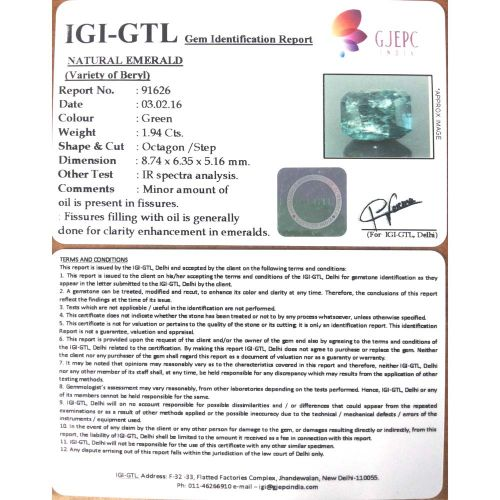 2.16 Ratti Natural Panna Stone with Govt. Lab Certified-(6771