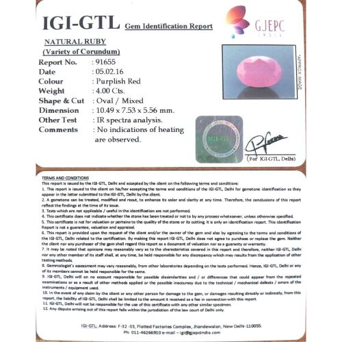 4.44 Ratti Natural Mozambique Ruby with Govt. Lab Certificate-(11000)