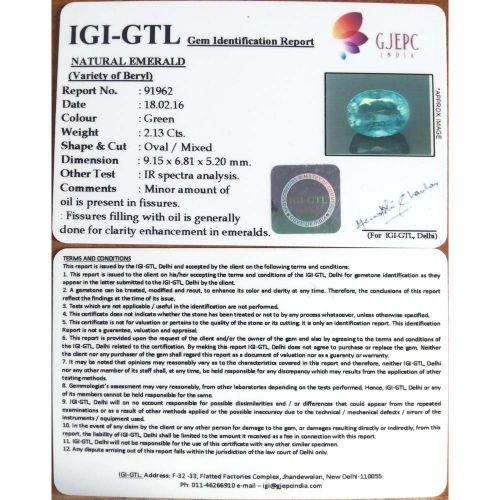 2.37 Ratti Natural Panna Stone with Govt. Lab Certified-(23310)