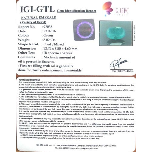 3.36 Ratti Natural Panna Stone with Govt. Lab Certified-(8991)