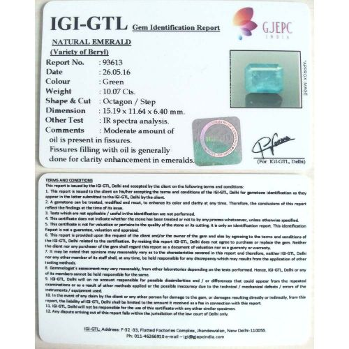 11.19 Ratti Natural Panna Stone with Govt. Lab Certified-(6771)
