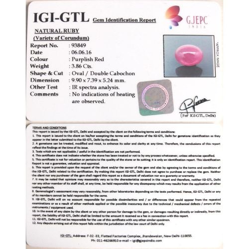 4.29 Ratti Natural Mozambique Ruby with Govt. Lab Certificate-(21000)