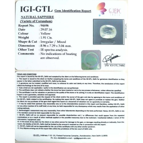 2.12 Ratti  yellow sapphire with Govt Lab Certificate-(11000)
