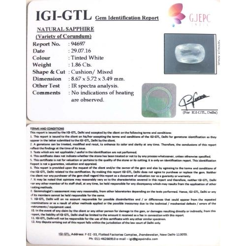 2.07 Ratti  yellow sapphire with Govt Lab Certificate-(11000)