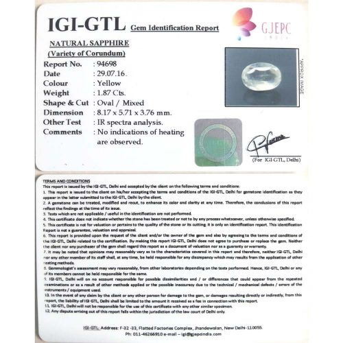 2.08 Ratti  yellow sapphire with Govt Lab Certificate-(11000)