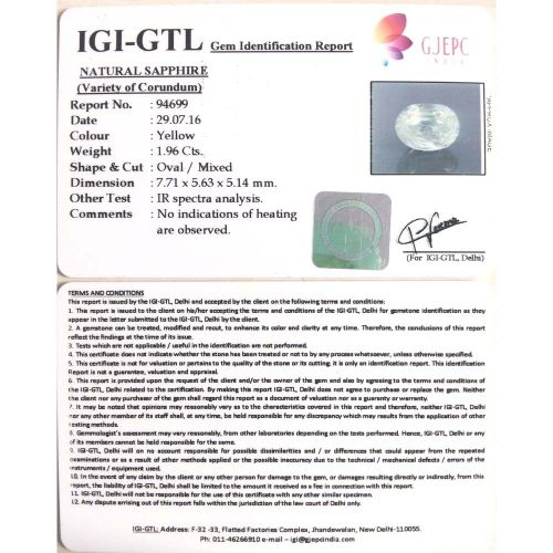 2.18 Ratti  yellow sapphire with Govt Lab Certificate-(8100)