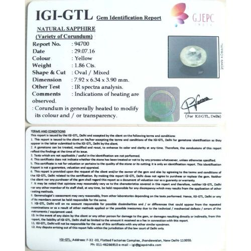 2.07 Ratti  yellow sapphire with Govt Lab Certificate-(6100)