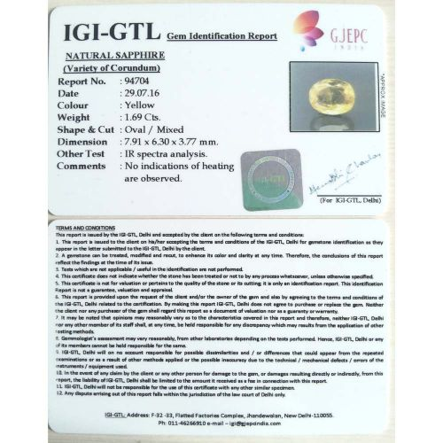 1.88 Ratti  yellow sapphire with Govt Lab Certificate-(11000)