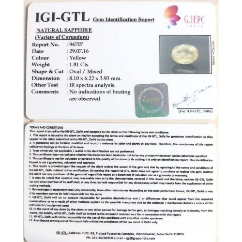 2.01 Ratti  yellow sapphire with Govt Lab Certificate-(6100)