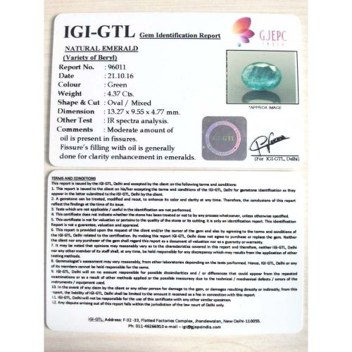 4.86 Ratti Natural Panna Stone with Govt. Lab Certified-(8991)