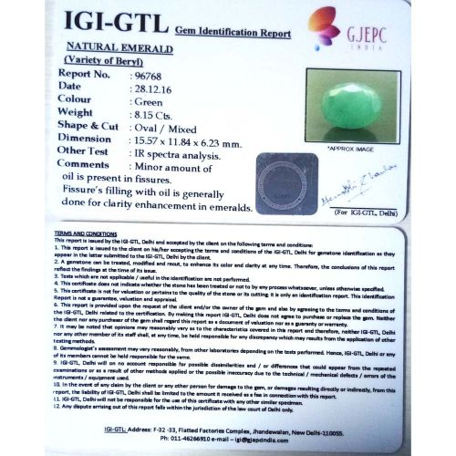 9.06 Ratti Natural Panna Stone with Govt. Lab Certified-(34410)