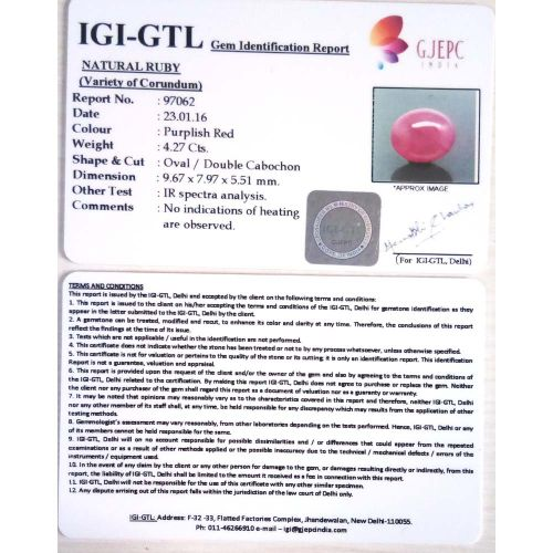 4.74 Ratti Natural Mozambique Ruby with Govt. Lab Certificate-(23310)